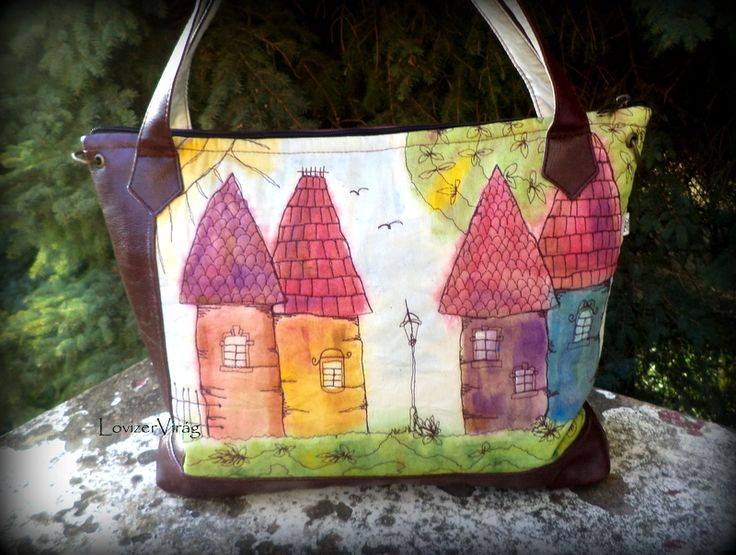 ZerVir bag with embroidered houses