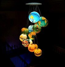 Retro Table World Globe Turned Into Chic Staircase Chandelier