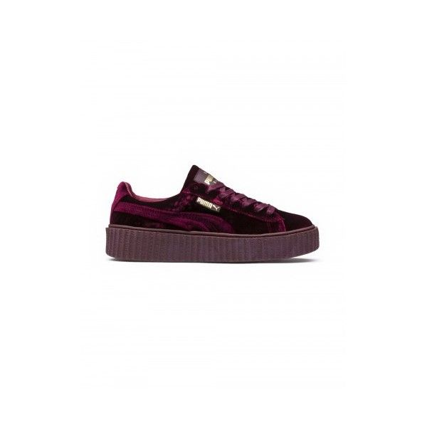 FENTY X PUMA CREEPERS ❤ liked on Polyvore featuring shoes, creeper platform shoes, velvet shoes, puma creeper, sports shoes and sport shoes