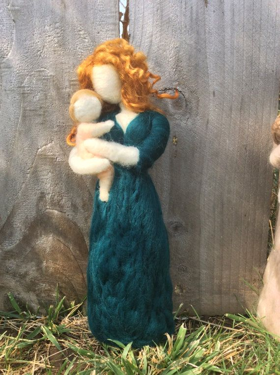 Needle Felt Mother Holding Baby by radishwoolworks on Etsy