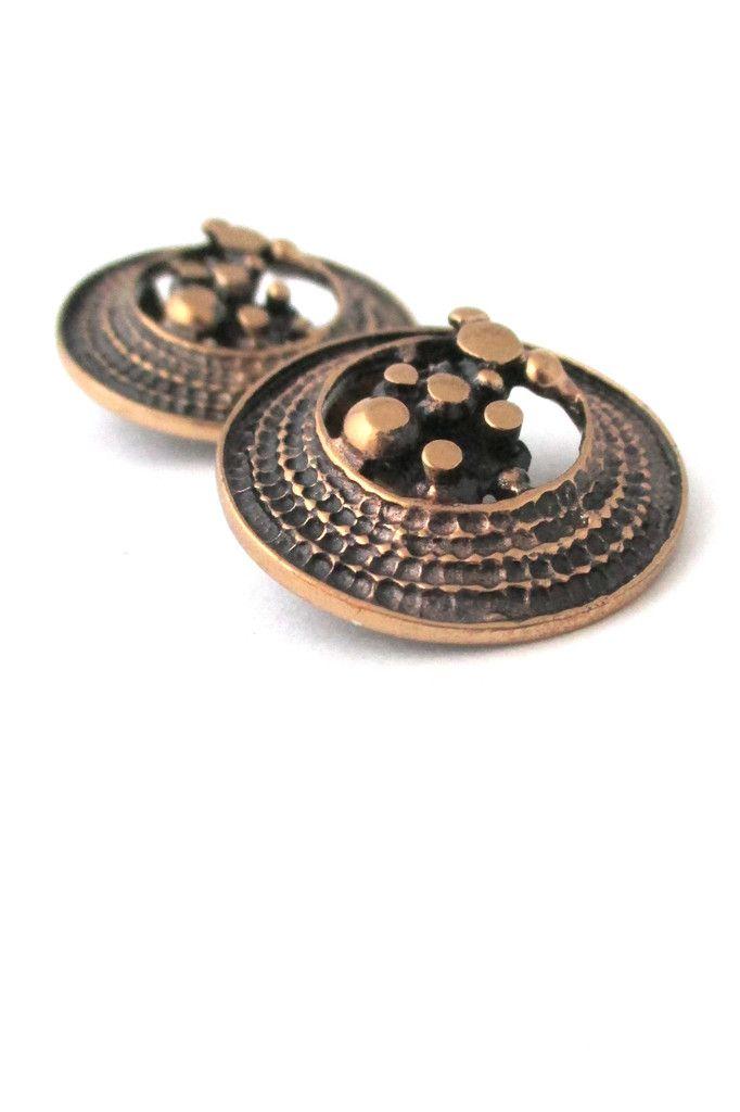 Jorma Laine, Finland - vintage bronze ear clips #bronze #earrings #Finland