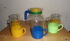 5 Teegläser / Grog + Kanne Glas mit Plastehalterung - DDR Dachbodenfund Sammler