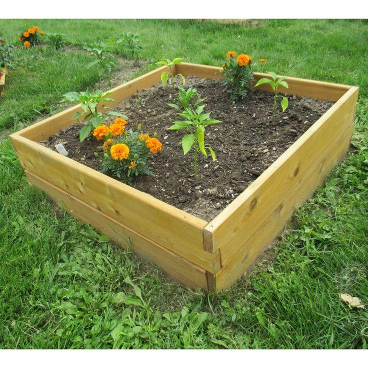Cedar Wood 3Ft x 3Ft x 11inch Raised Garden Bed Kit