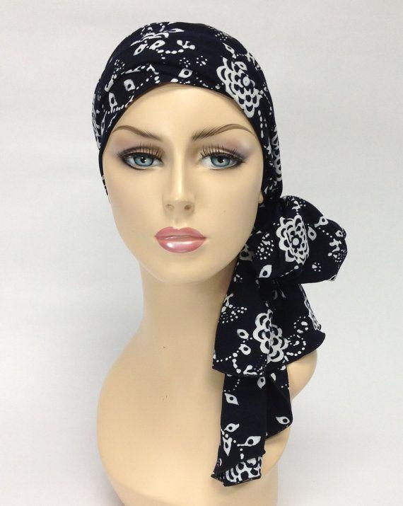 Turban Chemo Hat Tribal Head Wrap Alopecia Scarf Black & White