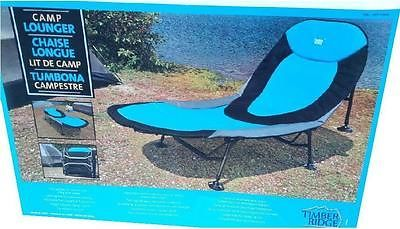 New 2015 Timber Ridge Blue Camp Lounger Cot Bed Camping