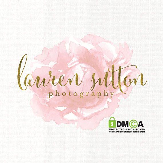 premade watercolor rose logo design gold by stylemesweetdesign