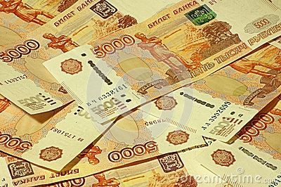 Background of many Russian banknotes