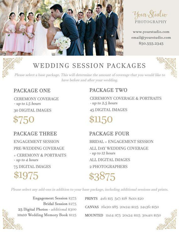 Wedding Photography Price Sheet - Price List Template - Wedding - Price Sheet Template