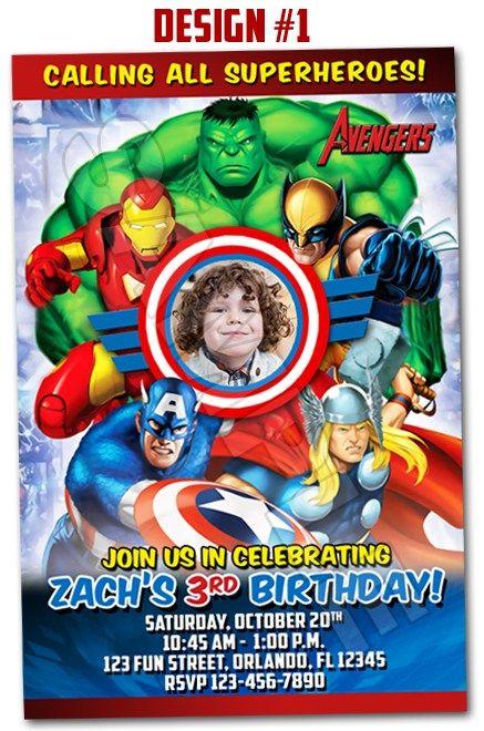 Avengers Superheroes Movie Ironman Birthday Party Photo Invitations -design 1