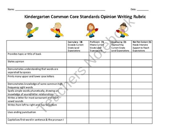 first grade writing rubric common core standards