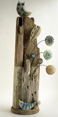 Shirley Vauvelle-owl and little bird  Earthernware, driftwood,vintage map