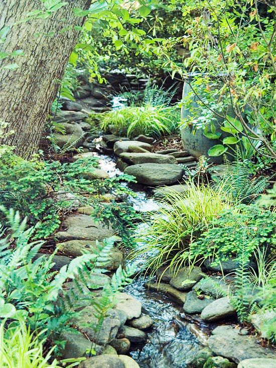 Water feature. I like how subtle and natural it is.: Gardens Ideas, Water Gardens, Shady Gardens, Gardens Stream, Gardens Design Ideas, Water Features, Gardens Water, Stream Beds, Shades Gardens