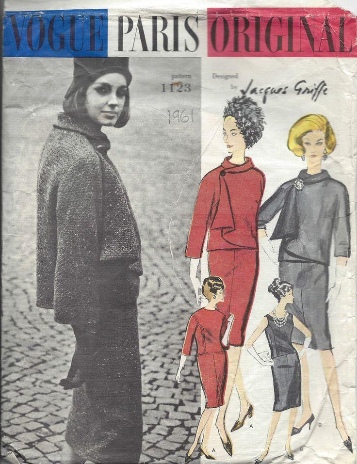 1961 Vintage VOGUE Patron de Couture B31 ROBE & VESTE (1339) Par JACQUES GRIFFE