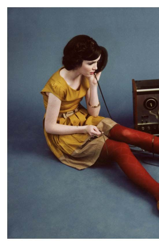 Dear Creature mustard yellow dress and red patterned stockings - very retro