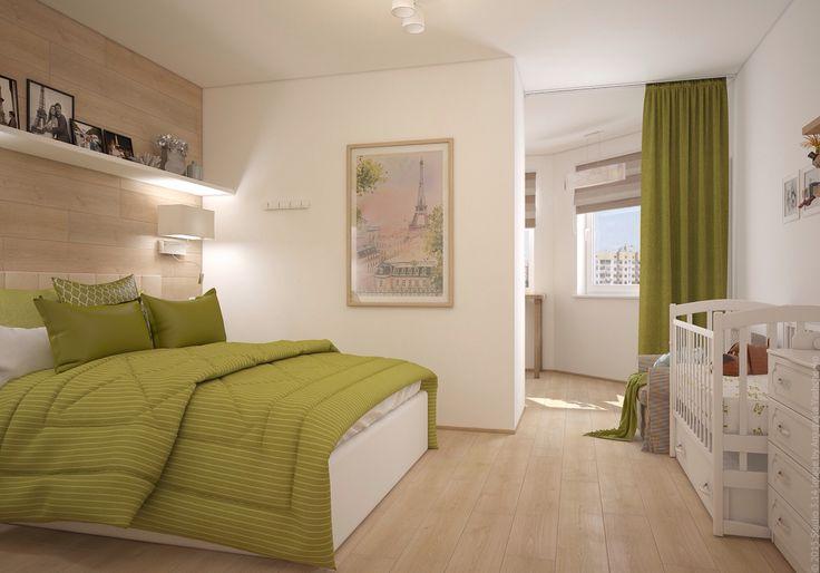 Спальня с рабочим пространством отделенным перегородкой. Яркий салатовый акцент. Дизайн трёхкомнатной квартиры на севере Москвы.
