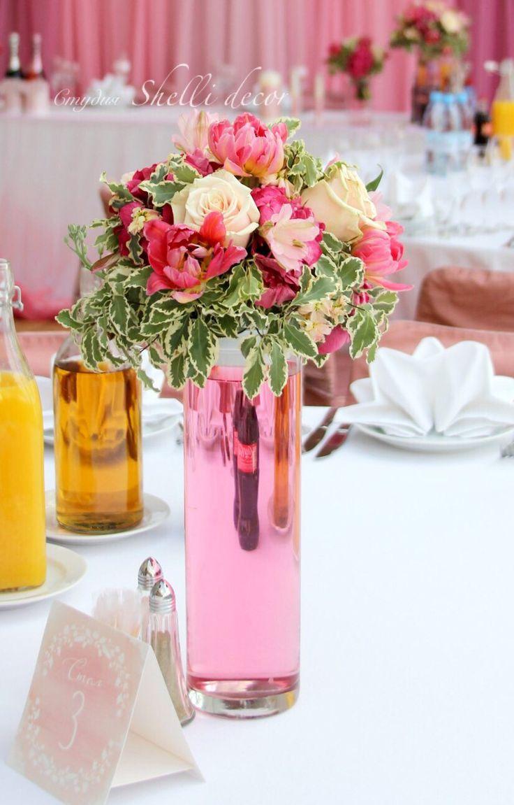 Оформление свадьбы в Москве и МО Цветочная композиция  Розовая композиция  Композиция на столы гостей