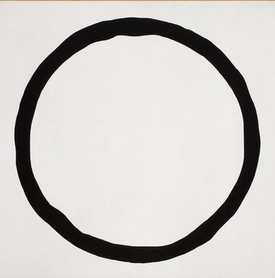 """Jiro Yoshihara """"Work"""" (1967) this artwork is simple and calm. the curved line is thick and dark. this also exemplifies shape because the line forms a geometric circle."""