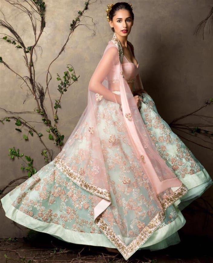 1408b1df Powder pink and powder blue bridal lehenga #bridalwear #lehenga ...