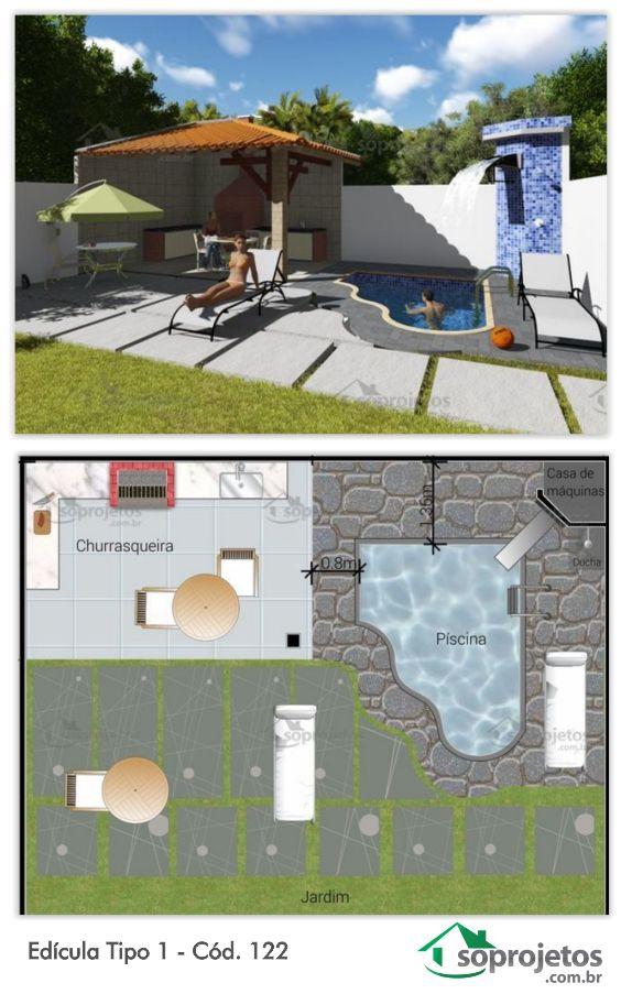 Primeiro projeto de uma coletânea de Edículas Soprojetos, para complementar a sua casa. Esta edícula contém espaço para churrasqueira, piscina com cascata , ducha externa, bancada com fogão e pia e um espaço ótimo para pegar sol.