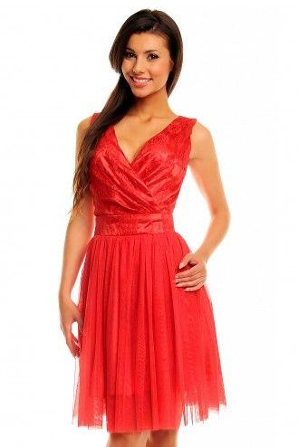 Tiulowa sukienka z koronkową górą KM141-1 czerwień