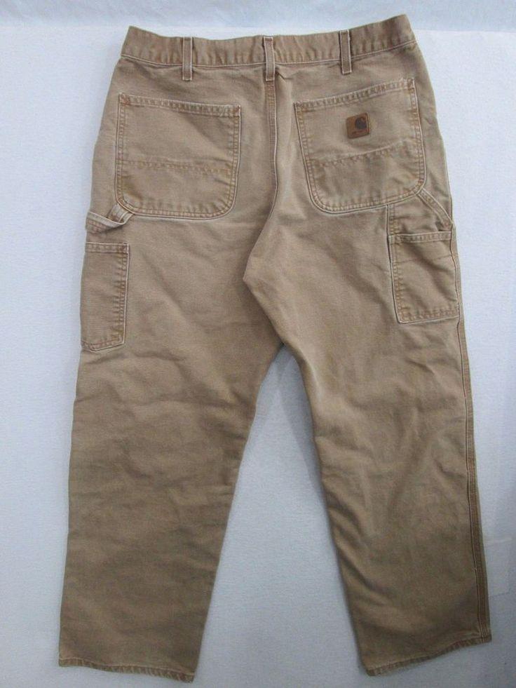 Carhartt Work Pants Men's Brown Carpenter Dungaree Fit Tag 34X32 Measures 33X30  #Carhartt #Carpenter