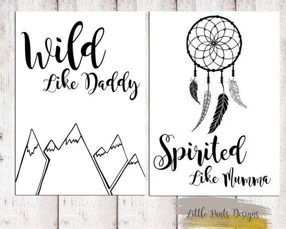 Wild Like Daddy Spirited Like Mumma Downloadable Printable Digital Graphic Aztec Dreamcatcher Mountain Tribal Nursery DIY Monochrome Artwork by LittlePantsDesigns on Etsy