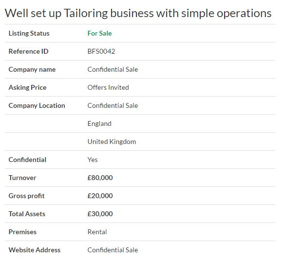 Business for sale - Well set up Tailoring business with simple operations Ref. BFS0042 Location   London,UK Asking Price Offers Invited #Ownersellers #FreeOnlineBusinessTransferAgent   #OnlineBusinesstransferagent #sellingyourbusinessonline #Freebusinessvaluationonline   #businessesforsaleonline #onlinebusinesssales #freeonlinebusinesstransferagency #Tailoringbusiness   #Tailoring #ClothingAccessories #Garments #London