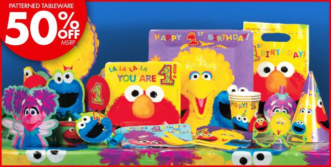 Sesame Street 1st Birthday Party Supplies - for baby O's first birthday!