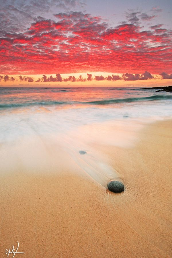 Fiery morning in Coolum, Queensland, Australia