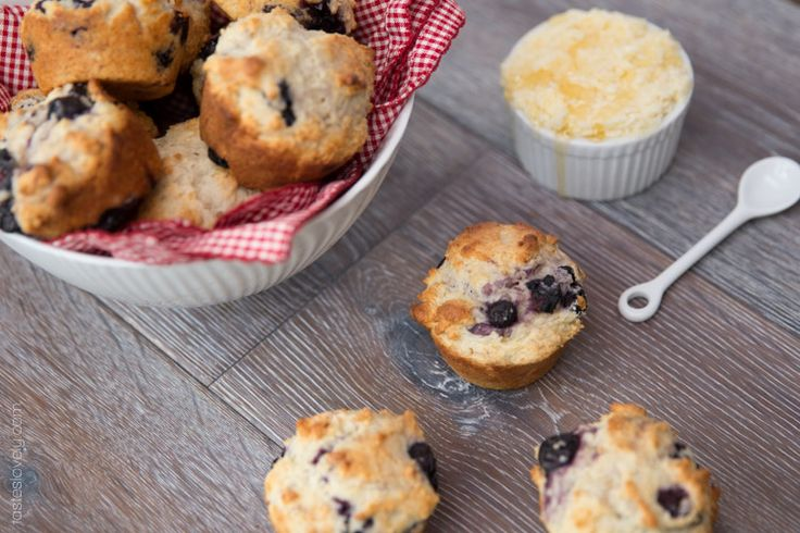 Moist blueberry muffins made with yogurt-made these for Christmas breakfast-they were very good, & easy to put together without a mixer.  Used frozen blueberries & lemon flavoured yogurt.  This recipe made 16 muffins.   AB