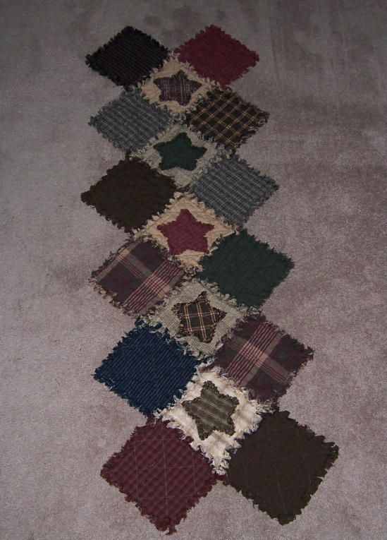 Rag Quilt Table Runner, Colonial-Primitive Colors