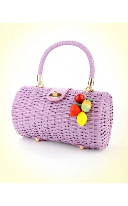 Wicker Baguette Purse in Lavender with Fruit Charm   Pinup Girl Clothing http://www.pinupgirlclothing.com/