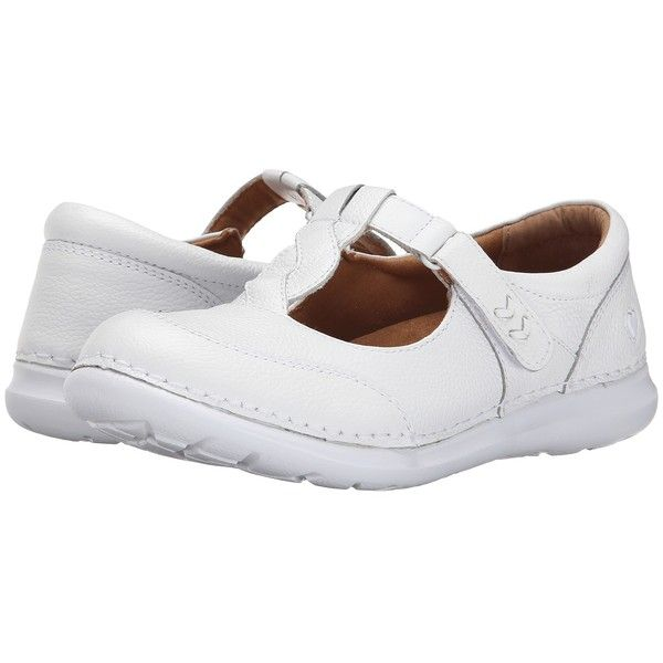 Nurse Mates Telma Women's Shoes ($53) ❤ liked on Polyvore featuring shoes, white, white velcro shoes, nurse mates shoes, white strap shoes, woven shoes and slip resistant shoes