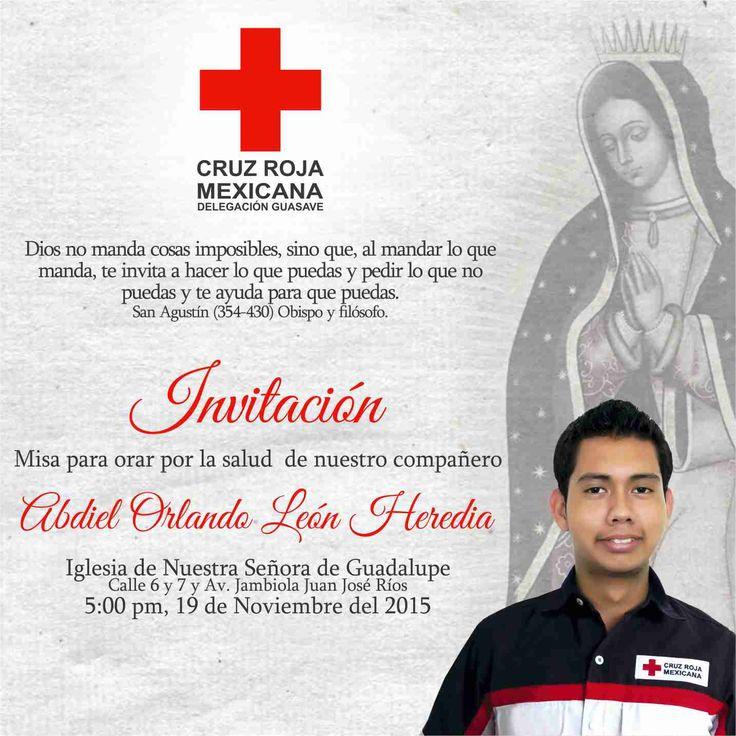 En apoyo a Nuestro Voluntario Técnico en Urgencias Médicas Abdiel Heredia.  Pedimos pronta recuperación para volver a estar en Servicio.  #CruzRojaGuasave