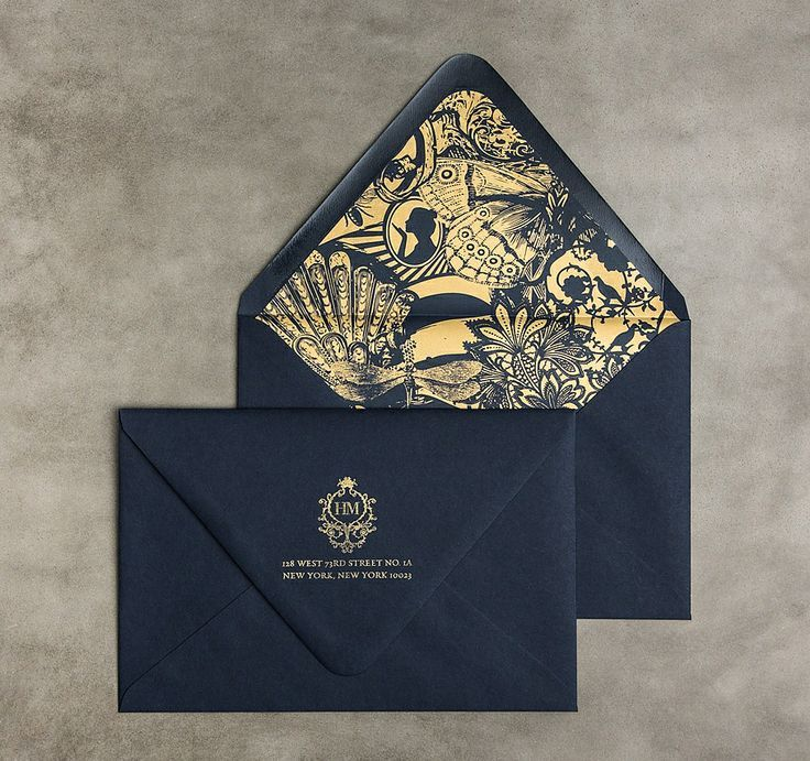 Beautiful gold and navy envelopes. Love the liners!