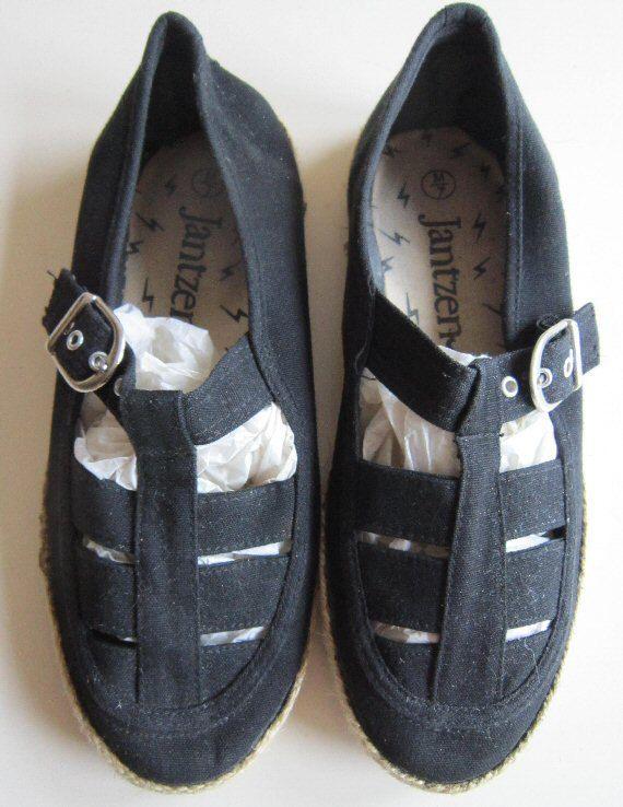 Vintage 60s shoes Jantzen black canvas beach sandals shoes size M USA 7 UK 5