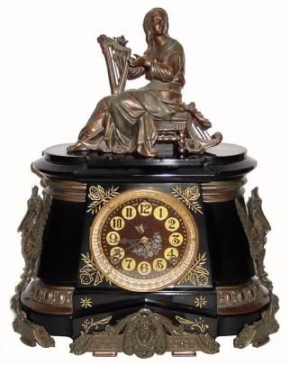"""Pompeii""- No 1008 Harpist clock, c.1894. ~ Ansonia Clock Company, (American - New York City) ~ {cwl}"