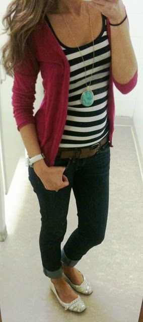 cardi with tank that has stripes, rolled up skinny jeans, flats, long necklace - easy and cute