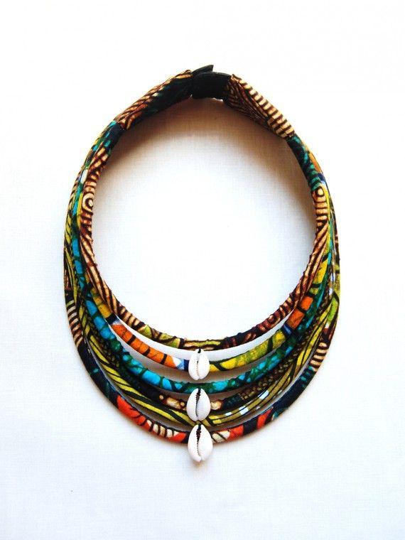 Maasai necklace / cowries wax * 6 rows ~African fashion, Ankara, kitenge, African women dresses, African prints, African men's fashion, Nigerian style, Ghanaian fashion ~DKK