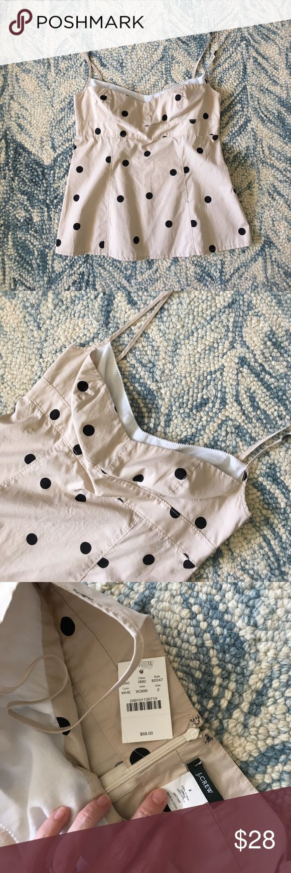 Polka Dot Cami Top by J.Crew Fresh and crisp 100% cotton scrappy tank. NWT! Lovely and unworn - needs to find a loving new owner! Very fitted, back zip. J. Crew Tops Tank Tops
