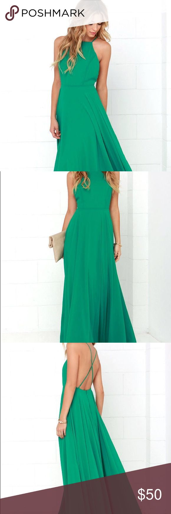 Green chiffon maxi dress Gorgeous green maxi dress in flowing chiffon. Cross back straps with low back. Can work with strapless bra pulled down in back. Mythical Kind of Love lulu's! Lulu's Dresses Maxi
