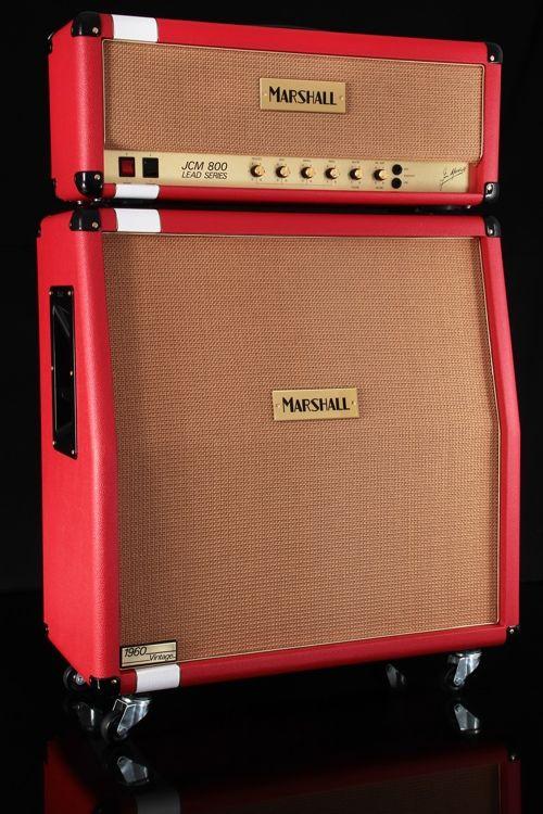 Marshall Custom Shop JCM800 Head and 1960AV Cabinet - Racing Red/White Stripe