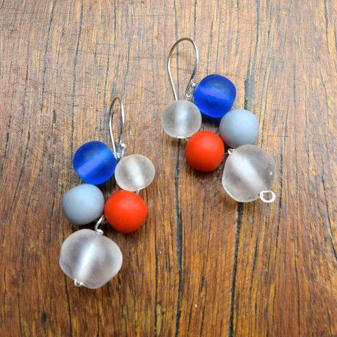 Blueberry Jaffa resin nugget drop earrings on sterling silver hooks.