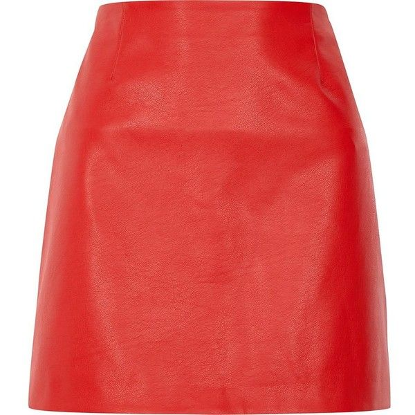 River Island Red faux leather mini pelmet skirt (2,650 DOP) ❤ liked on Polyvore featuring skirts, mini skirts, red, women, short mini skirts, river island, fake leather skirt, red skirt and short skirts