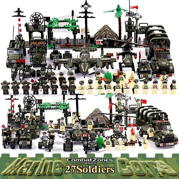 Military Educational Building Blocks Toys Army Cars Planes Helicopter Weapon