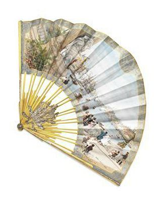 Victorian Hand Painted Silk Fan Paris Th Century