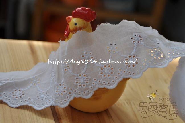 Bølgete Hvite doble blomster brodert bomull blondere, bomull blondere, plagg Tilbehør '- Taobao