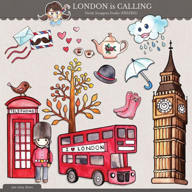 Quality DigiScrap Freebies: London Is Calling element pack freebie from Nerdy Scrappers Studio
