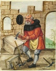 Stonemason - It's About Time: Illuminated Manuscripts - 1400s Craftsmen & Shopkeepers in Nuremberg, Germany