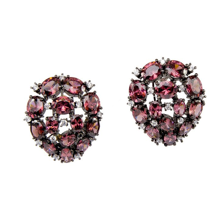 Black Studs with Maroon Stones, Earrings & Accessories - LuxShoppe.com